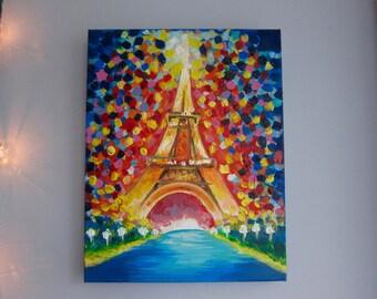 PARIS EIFFEL TOWER - Original acrylic painting on canvas, Eiffel Tower painting, Eiffel tower art, France art, travel art, Paris wall art