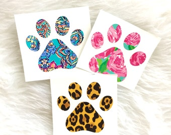 Paw Print Decal, Lilly Pulitzer Dog Decal, Dog Lover Decal, YETI Decal, Car Decal, Car Sticker, Paw Print, Decal, Laptop Decal, Dog Gift