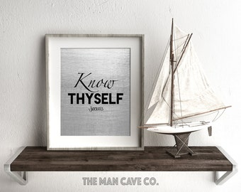 Socrates quote print Printable art Motivational quote print Black and gray wall art Typography print Know thyself Inspirational quote decor