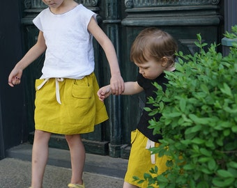 Yellow skirt for girls in natural linen, elastic waist girls skirt with pockets, summer skirt
