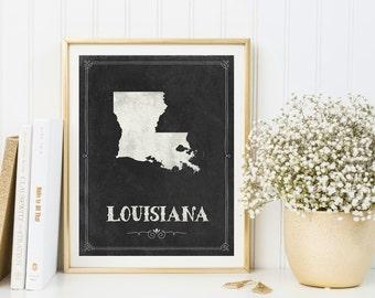 Louisiana map printable, Louisiana print, Louisiana poster, Louisiana decor, Housewarming, Louisiana sign, Louisiana wall art, Chalkboard