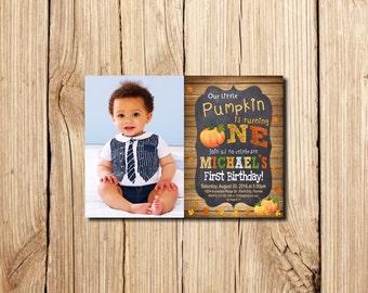 PUMPKIN INVITATION, Pumpkin Patch Birthday Invitation, Fall Birthday Invitation, Chalkboard, Pumpkin Patch, with photo, for boy