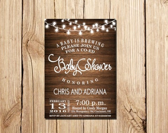 A Baby Is Brewing Baby Shower Invitation, Co-Ed Baby Shower Invitation, A Baby Is Brewing Invitation,  Baby Shower Invitation, Co-Ed