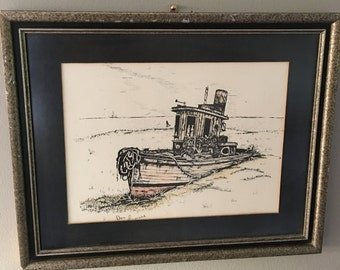 Framed Pen & Ink Art Drawing of Tug Boat - Hand Colored - Signed Don Russell