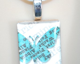 Scrabble Tile Fun Art Pendant Necklace - Butterfly Print