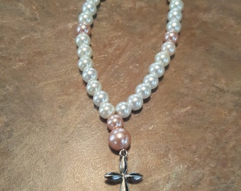 White and Pink Small Anglican Prayer Beads