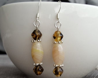 Earrings - Czech glass beads, silver plated