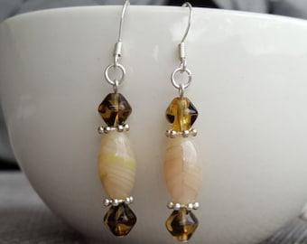 Earrings - Czech glass beads, silver plated