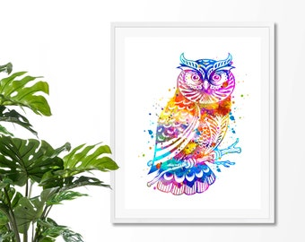 Owl 3 Watercolor Fine Art Print,  Wall  Decor, Watercolor Art Print, Owl  Art, Owl Poster