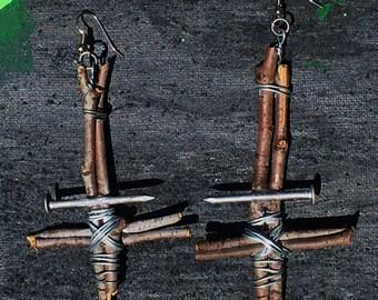 Sticks N' Nails Inverted Cross Earrings