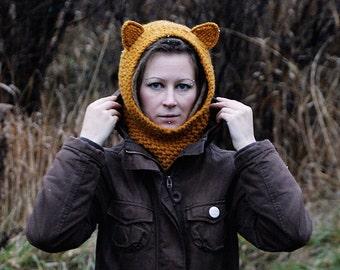 Hooded UNISEX Scarf/Crochet Hood/Cowl In Color Mustard  Wool Hood/Chunky Crochet Hood/Soft Woman Hooded Scarf/Cowl Winter Accesory