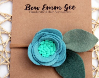 PIXIE Peacock felt flower headband || Felt Flowers || Nylon headband || One size fits all (baby - adult) || bowemmgee