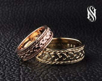 Couple Wedding Rings 14K Gold Couple Rings Gold Wedding Ring Set Couples Gold Ring Rose Gold Wedding Band Set Solid Gold Wedding Bands