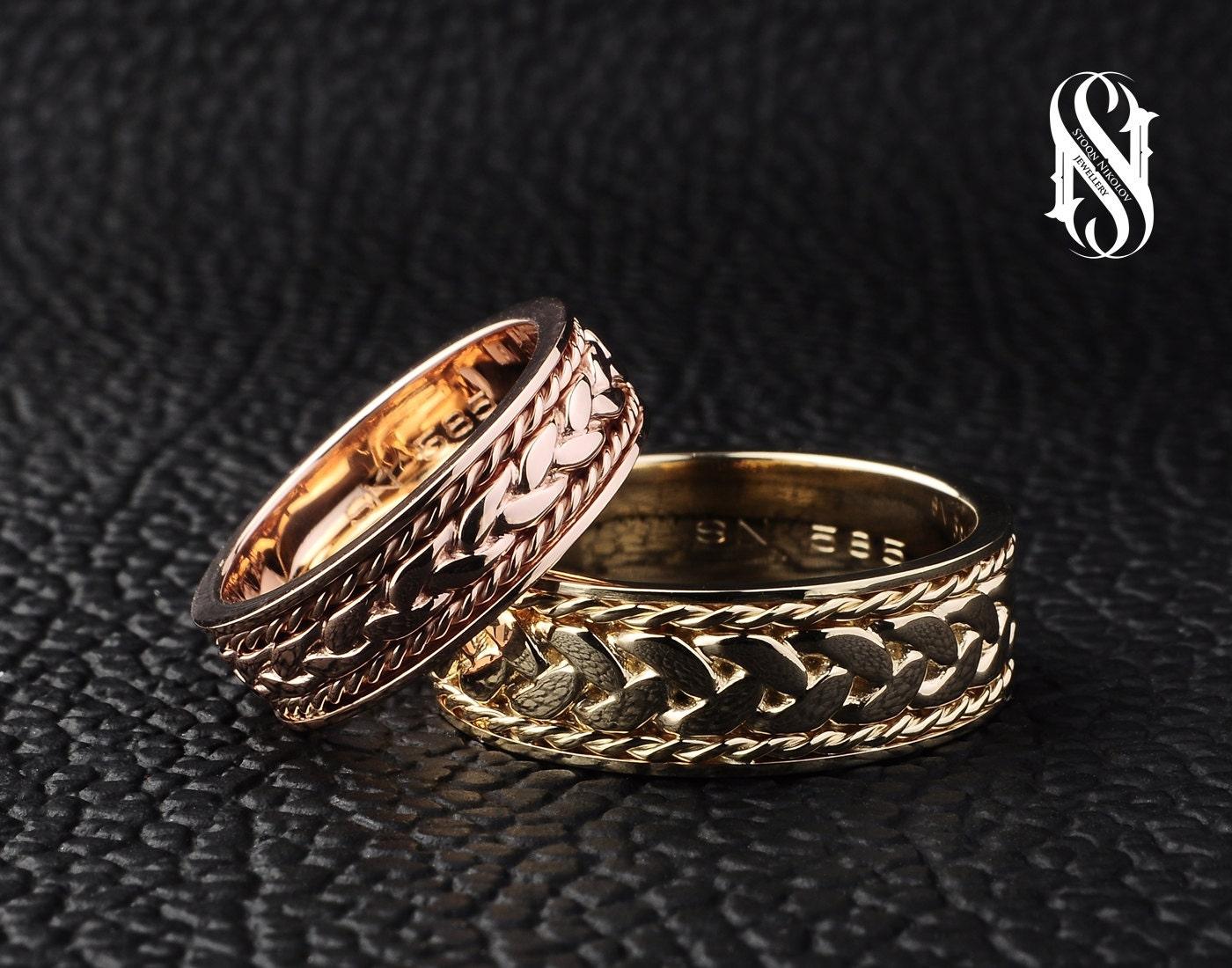 Couple Wedding Rings 14K Gold Couple Rings Gold Wedding Ring