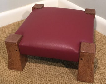 White Oak and Leather Footstool