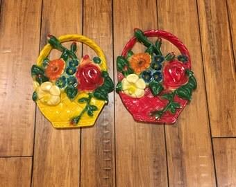 Vintage Chalkware Flower Basket Wall Decor, Chalkware Flower Bouquet , Retro, Floral , Red , Yellow ,