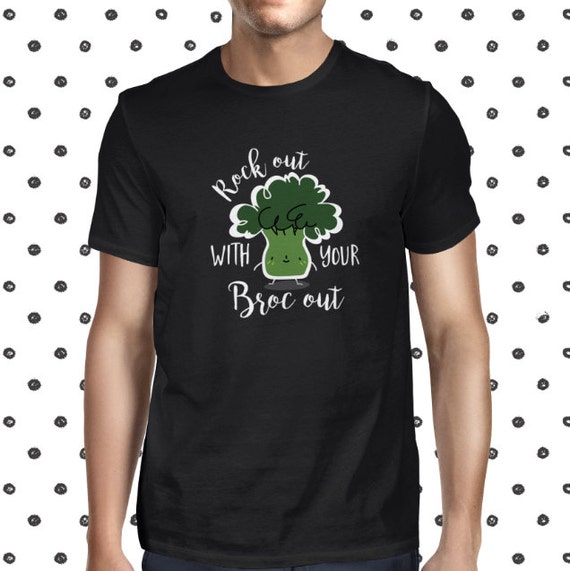 Cute Broccoli T-shirt - Funny Broccoli Tee Shirt - Pun Veggie Shirt - Vegan Shirt for Men - Vegetarian Funny Tee for Men - Broccoholic Shirt
