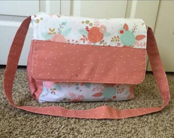Coral and Mint Floral Diaper Bag