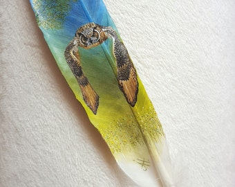 hand-painted eagle - owl - swan feather pen