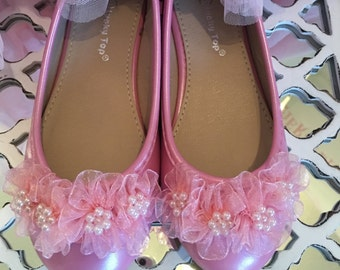 Girls shoes, pink shoes, ballet flats, flower girl shoes, pink slippers, footwear, little girls shoes, pink floral,