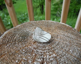 Sea Glass Wrapped in Silver Wire