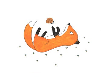 Fox and Butterfly, children's print, woodland decor