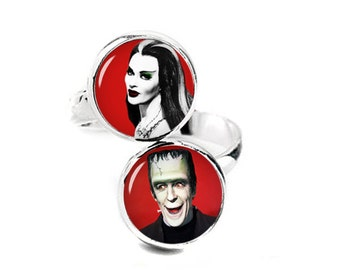 Herman and Lily Munster Double Ring Adjustable ring Munsters Jewelry Fanboy Fangirl