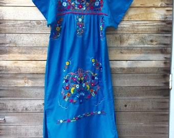 mexican dress - womens - handmade - embroidered - mexico - dress - boho dress - adult - royal blue