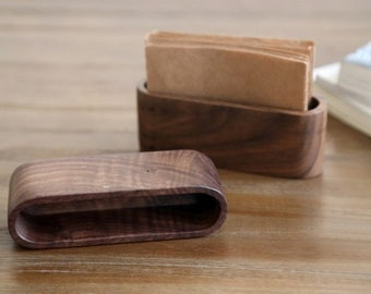 FransWood Tailor-make Walnut wood office desk business card holder
