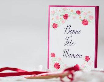 Carte fête des Mères aux Roses