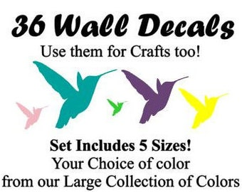y36~Multi-sized Hummingbird tsticker or wall decal