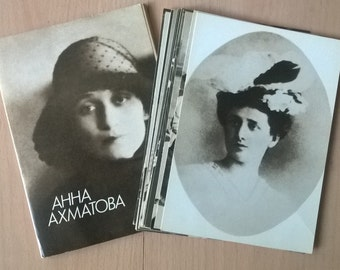 Vintage, Anna Akhmatova postcard collection of 18 pieces a year -1988