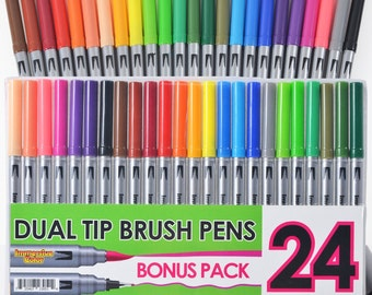Dual Tip Brush Pens with Fineliner Tip (24 PACK, No Duplicates!) FREE SHIPPING
