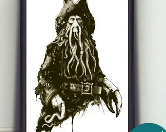 Davey Jones Art Print - Limited - Signed By Artist - Perfect Gift For Any Pirates Of The Caribbean Fan
