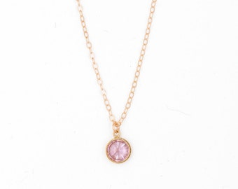 """Necklace """"love"""", stone rose, plated zirconium gold way gold filled 14 k, french-modern-minimalist"""