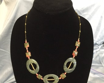 Green and coral agate beaded necklace