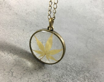 Mini Japanese Maple in Antique Bronze Open Back Bezel Resin Necklace, Resin Pendant, Pressed Flower Jewelry, Resin Jewelry