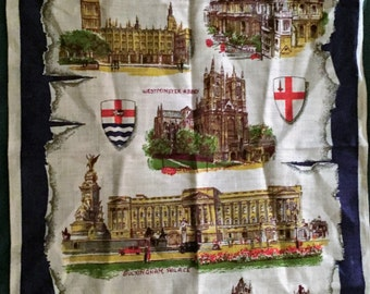 "Vintage 1970s Tea Towel ""LONDON"" / Made in Ireland / Historical London Tea Towel"