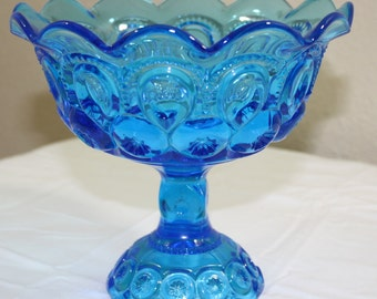 "Blue ""Moon and Stars"" Glass Footed Compote"