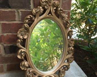 Vintage gold floral filigree oval mirror