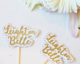 Custom name cupcake toppers // personalized glitter cupcake toppers // name cupcake toppers // food picks // girls birthday cupcake toppers