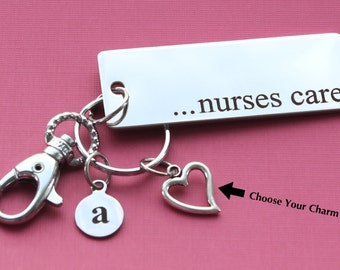 Personalized Nurse Key Chain Nurses Care Stainless Steel Customized with Your Charm & Initial - K322