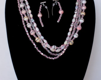 Soft Pastel and Pink Beaded Necklace and Earring Set