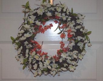 Grapevine Wreath - Spring Wreath - White and Orange - Flowers