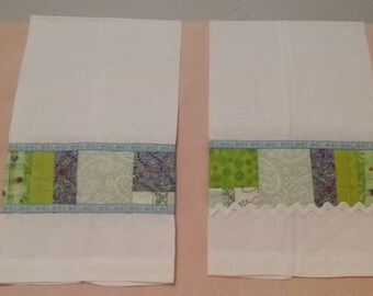 Linen Kitchen Towels with Scrappy Embellishment