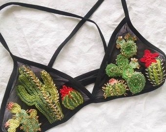 Prickly Pear Embroidered Bralette
