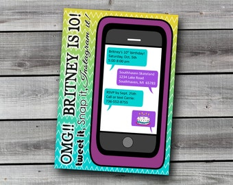 iPhone / Cell Phone / Teen / Social Media / 10th Birthday Invitation