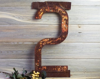 Railroad Metal Large Number #2 ~ Vintage Railroad Sign ~ Metal Wall Art ~ Rustic Home Decor ~ Industrial Modern Decor ~ Urban Home Office