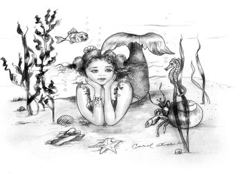 Mermaid  digital coloring pages to color,redraw or write a story about, a fun time for young children.