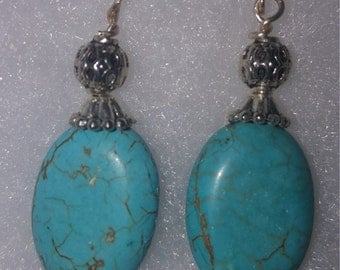 Turquoise and Tibetian Silver Earrings